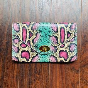 H&M Pastel Snake Print Clutch Purse